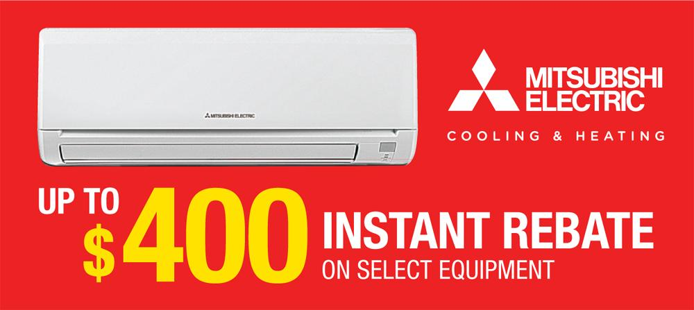 Get a $400 rebate on Mitsubishi Equipment installed by Tom Rostron in Wall Township, NJ