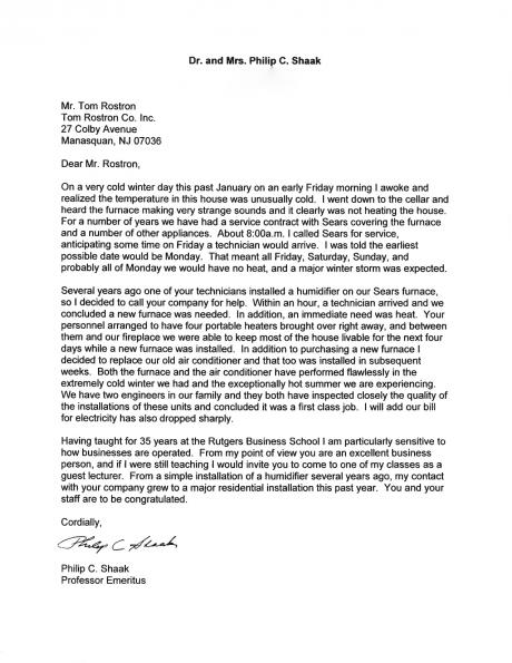 Philip C. Shaak's letter to Tom Rostron thanking the company for the life-saving furnace install