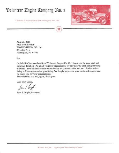 Sean T. Boyle's letter to Tom Rostron thanking him for his generous donation