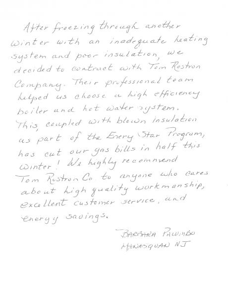Barbara Palumbo's letter to Tom Rostron about her experience with heating and insulation installation