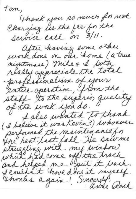 anne handwritten letter to tom rostron