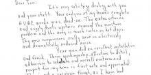 A handwritten letter from Carl F. DeBaise to Tom Rostron addressing an excellent HVAC installation